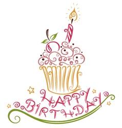Birthday muffin vector