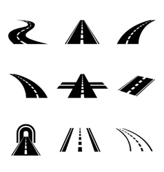 Black car road icons set vector