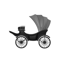Black carriage with soft gray convertible top and vector
