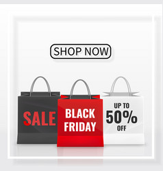 black friday sale realistic paper shopping bag vector image