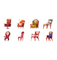 Broken chairs and armchairs old furniture set vector