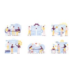 business analysts teamwork flat vector image