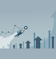Business man with jet pack over finance graph vector