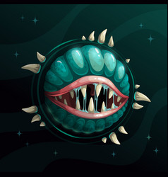 cartoon creepy monster planet with spittle mouth vector image