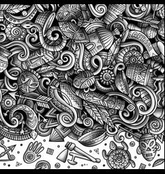 Cartoon doodles africa monochrome african vector