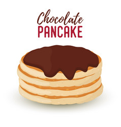 cartoon pile of pancakes chocolate syrup vector image