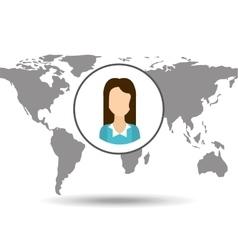 Cartoon woman social media world map vector