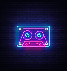 Cassetts for tape recorder neon sign retro vector