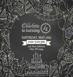 Chalk Birthday invitation blackboard template vector