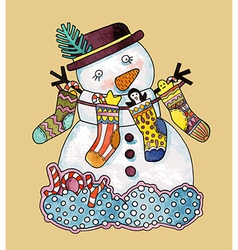 Christmas design Watercolor snowman vector