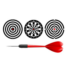 Classic dart board target set and darts red arrow vector