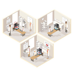 Clinical laboratories set of isometric vector