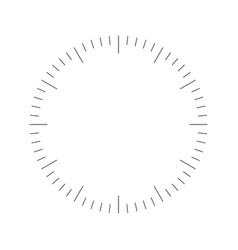 Clock face blank hour dial dashes mark minutes vector