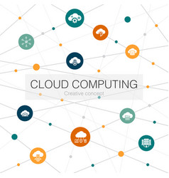 cloud computing trendy web template with simple vector image