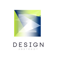 Crystal abstract logo in square form geometric vector
