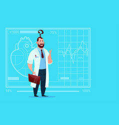 Doctor confused thinking medical clinics worker vector