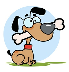 Dog With Big Bone In Mouth vector image