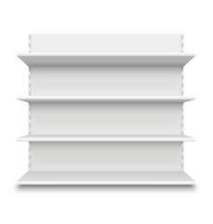 Empty supermarket shelf retail store white blank vector