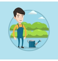 Farmer with watering can at field vector