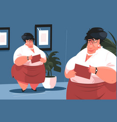 fat secretary in office vector image