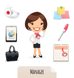 Female manager set vector