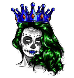 Female skull with a crown and long hair queen of vector
