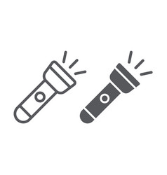 flashlight line and glyph icon light and electric vector image