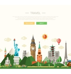 Flat design composition with world vector image