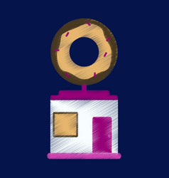 Flat icon in shading style donut shop vector
