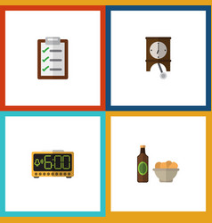 flat icon lifestyle set of beer with chips vector image