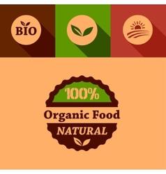 Flat organic food design elements vector