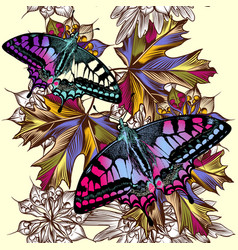 floral seamless pattern with colorful butterflies vector image