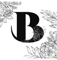 Flower alphabet letter b pattern vector