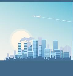 flying plane over metropolis building vector image