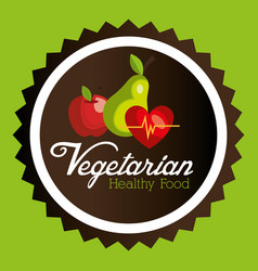 fresh fruits and heart vegetarian food vector image