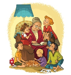 Grandmother reads a book to her grandchildren vector