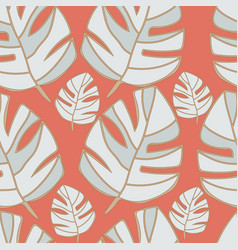 grey tropical leaves on orange background seamless vector image