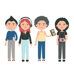 group young people urban style characters vector image
