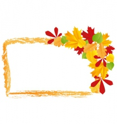 grunge frame with autumn leaves vector image vector image