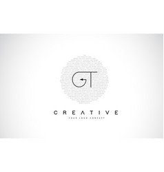 Gt g t logo design with black and white creative vector