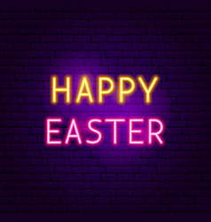 Happy easter neon sign vector