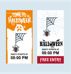 happy halloween invitation design with spider vector image