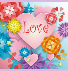 Happy valentines day greeting card with flowers vector