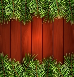 Holiday Wooden Background with Fir Branches vector image