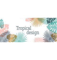 Horizontal tropical header in pastel colors vector