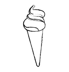 Ice cream cone sundae dessert frozen vector