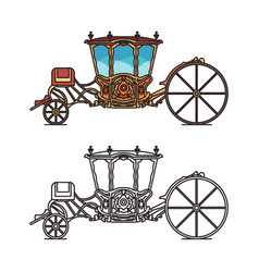 Icons retro buggy or chariot for weddings vector