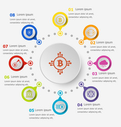 Infographic template with bitcoin icons vector