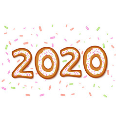 Inscription 2020 in shape gingerbreads vector