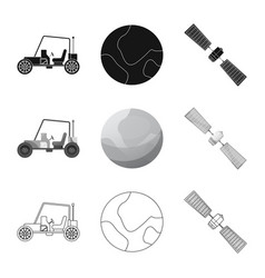 Isolated object of mars and space logo set of vector